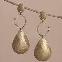 Bronze plated dangle earrings, 'Bronze Desire' - Artisan Crafted Long Dangle Earrings with a Textured Finish