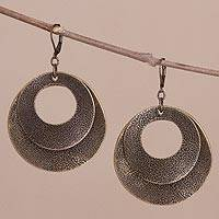 Bronze plated dangle earrings, 'Rings of Bronze' - Bronze Plated Double Ring Dangle Earrings from Peru