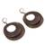 Bronze plated dangle earrings, 'Rings of Bronze' - Bronze Plated Double Ring Dangle Earrings from Peru (image 2c) thumbail