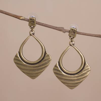 Novica Dangle earrings, Draped Elegance in Bronze