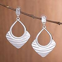 Silver plated dangle earrings, 'Draped Elegance in Silver' - Peruvian Textured Silver Plated Dangle Earrings with Posts