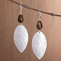 Silver plated tiger's eye dangle earrings, 'Plumes of Silver' - Long Silver Plated Tiger's Eye Dangle Earrings from Peru
