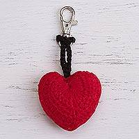 Crocheted key chain, 'Fun Heart' - Red Crocheted Heart Key Chain from Peru