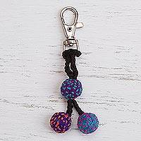 Crocheted key chain, 'Little Balls of Fun' - Crocheted Bauble Key Chain from Peru