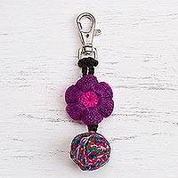 Crocheted key chain, 'Flower of Fun' - Crocheted Floral Key Chain from Peru