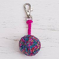 Crocheted key chain, 'Ball of Fun' - Multicolored Ball Crocheted Key Chain from Peru