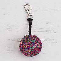 Crocheted key chain, 'Multicolored Ball' - Hand-Crocheted Multicolored Key Chain from Peru