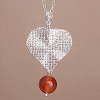 Carnelian pendant necklace, 'Heart Aflame' - Heart-Shaped Carnelian Pendant Necklace from Peru