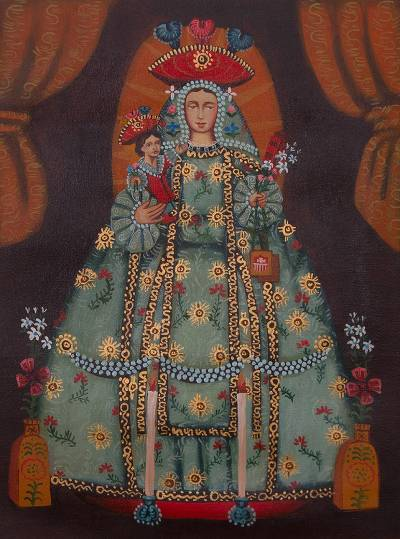 'Virgin of Mercy' - Signed Painting of the Virgin of Mercy from Peru