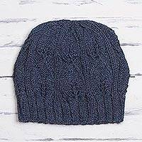 100% alpaca hat, 'Brave Explorer in Steel Blue' - Steel Blue Crocheted Alpaca Hat from Peru