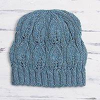 100% alpaca hat, 'Brave Explorer in Sky Blue' - Sky Blue Crocheted Alpaca Hat from Peru