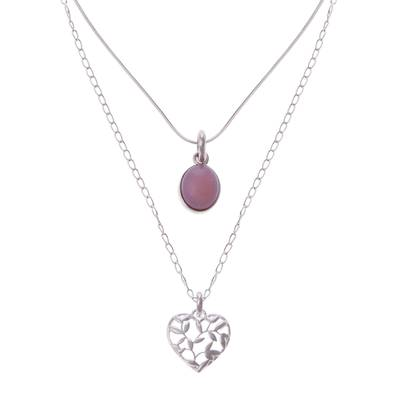 Opal pendant necklace, 'Doubly Cherished' - Rose Opal and Sterling Silver Heart Pendant Necklace Duo
