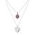 Opal pendant necklace, 'Doubly Cherished' - Rose Opal and Sterling Silver Heart Pendant Necklace Duo (image 2a) thumbail