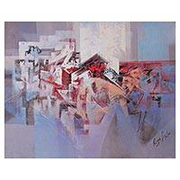 'Urban Forms' - Signed Angular Abstract Painting from Peru