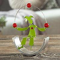 Aluminum sculpture, 'Jolly Juggler' - Juggling Harlequin Green Aluminum Handcrafted Sculpture