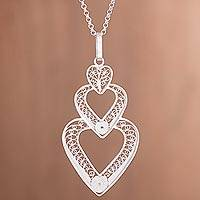 Sterling silver filigree pendant necklace, 'Cascading Love' - Sterling Silver Filigree Triple Heart Pendant Necklace