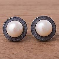 Cultured pearl button earrings, 'The Pearls of Asgard' - Peruvian Sterling Silver and Cultured Pearl Button Earrings