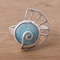 Amazonite cocktail ring, 'Slow and Steady' - Amazonite and Sterling Silver Snail Cocktail Ring from Peru