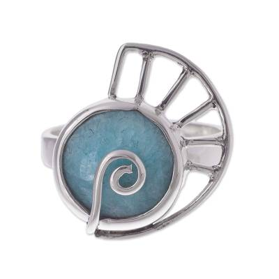 Amazonite and Sterling Silver Snail Cocktail Ring from Peru