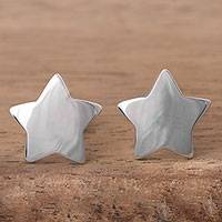 Sterling silver button earrings, 'Shining Heavens' - Sterling Silver Star Shaped Button Earrings from Peru