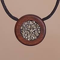 Pyrite pendant necklace, 'Glint' - Modern Recycled Hualtaco Wood and Pyrite Pendant Necklace
