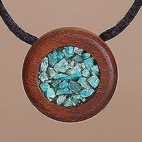 Chrysocolla pendant necklace, 'Pebble Pool' - Recycled Hualtaco Wood and Chrysocolla Pendant Necklace