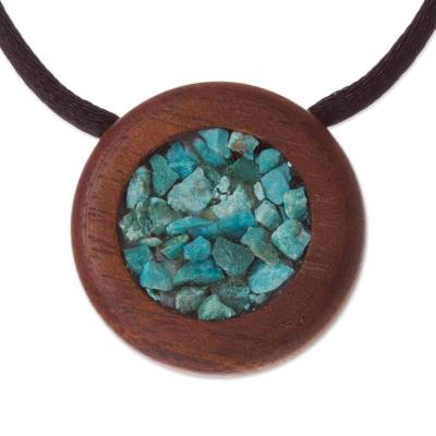 Recycled Hualtaco Wood and Chrysocolla Pendant Necklace