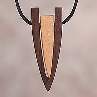 Wood pendant necklace, 'Modern Hunter' - Modern Reclaimed Oreja de Leon and Ipe Wood Pendant Necklace