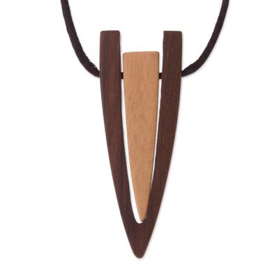 Modern Reclaimed Oreja de Leon and Ipe Wood Pendant Necklace