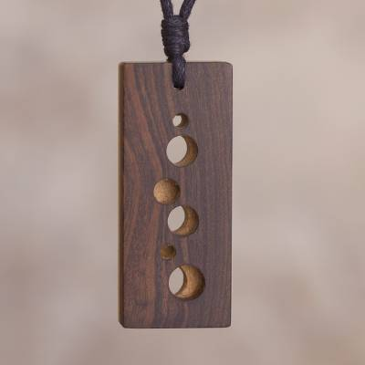 Reversible wood pendant necklace, 'Glimpses' - Reversible Rectangular Recycled Wood Modern Pendant Necklace