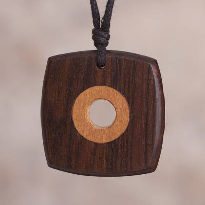 Wood pendant necklace, 'Juxtaposed Geometry' - Dual Reclaimed Wood Modern Geometric Pendant Necklace