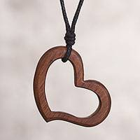 Wood pendant necklace, 'Brave Heart' - Heart Shaped Pendant Necklace with Recycled Wood from Peru