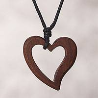 Wood pendant necklace, 'Natural Vibration' - Peruvian Handmade Heart Pendant Necklace with Reclaimed Wood