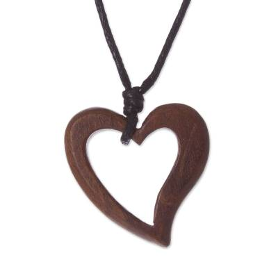 Peruvian Handmade Heart Pendant Necklace with Reclaimed Wood