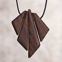 Wood pendant necklace, 'Autumnal Reverie' - Peruvian Reclaimed Wood Pendant and Cord Necklace