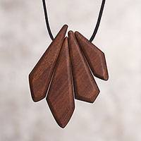 Wood pendant necklace, 'Prelude' - Artisan Made Recycled Wood Pendant Necklace from Peru