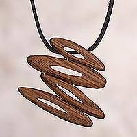 Wood pendant necklace, 'Leaning Abstract' - Handcrafted Wood Pendant Necklace from Peru