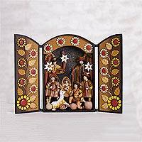 Ceramic retablo, 'Festive Rites' - Hand-Painted Ceramic Nativity Retablo from Peru