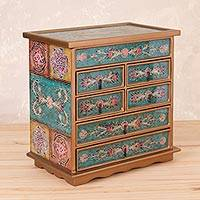 Reverse painted glass jewelry chest, 'Colonial Mandala' - Floral Reverse Painted Glass Jewelry Chest from Peru