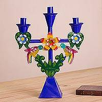 Metal candelabra, 'Temple of the Hummingbird' - Handmade Recycled Metal Candelabra in Blue from Peru