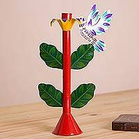 Metal candle holder, 'Sweet Hummingbird in Red' - Floral Hummingbird Metal Candle Holder from Peru