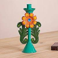Metal candle holder, 'Andean Bloom' - Recycled Metal Candle Holder in Green from Peru