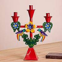 Metal candelabra, 'Andean Music' - Handcrafted Metal Candelabra in Red from Peru