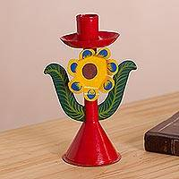 Metal candle holder, 'Sunset Bloom' - Floral Metal Candle Holder from Peru