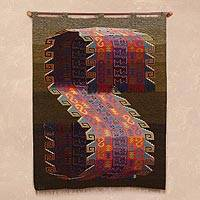 Wool tapestry, 'Sacred Pisac' - Handwoven Multicolor Modern Inca-Inspired Wool Tapestry