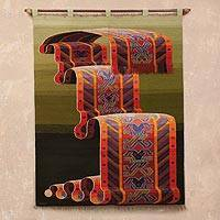Wool tapestry, 'Inca Royalty' - Green Handwoven Inca-Inspired Colorful Motif Wool Tapestry