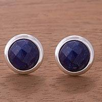 Sodalite button earrings, 'Circular Treasures' - Sodalite and Sterling Silver Button Earrings from Peru