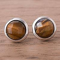 Tiger's eye button earrings, 'Circular Treasures' - Circular Tiger's Eye Button Earrings from Peru