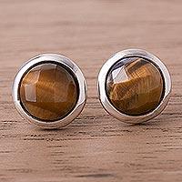 Tiger's eye button earrings, 'Circular Treasures' - Circular Tiger's Eye Button Earrings from Peru