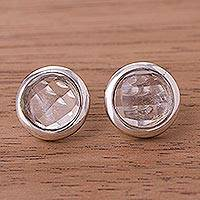 Quartz button earrings, 'Circular Treasures' - Circular Quartz Button Earrings from Peru